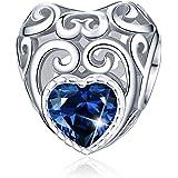 Forever Queen - Ciondolo da donna con pietra portafortuna di gennaio, in argento Sterling 925, con ciondolo a forma di cuore,