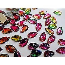 200pcs cose en rhinestones Mutilcolor gota de agua de cristal 7* 12mm Flatback gemas de accesorios de acrílico strass