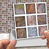 DXHH 18 STÜCKE Shell Mosaik Stil Fliesen Aufkleber Dekorative Aufkleber Kreative Rutschfeste Selbstklebende Wandtattoos Floor Sticke