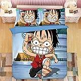 DFTY One Piece Anime Cartoon - Biancheria da Letto per Bambini, 3 pz, con Copripiumino e 2 federe, Traspirante, 6, 220X260CM