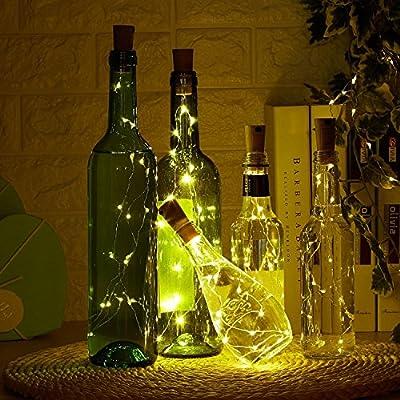 9x 20 LED Flaschen-Licht Kupferdraht Cork Form der LED Nacht Licht Weinflasche Hochzeit Party romantische Deko (warm weiß) [Energieklasse A+++]