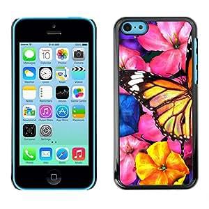 Rubber Gehäuse Hülle Schutz Case Cover Zubehör By RAYDREAMMM - Apple iPhone 5C - Butterfly Art Garden Flowers Blossoms Nature
