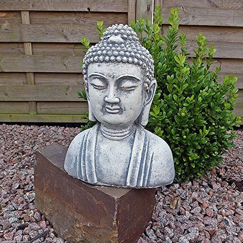 Steinfigur Buddha Kopf Büste Steinguss Gartenfigur