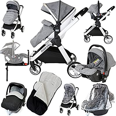 Marvel 3in1 Pram - Dove Grey (ISOFIX Base +Car Seat + Carrycot + x2 Rain Covers + x2 Footmuff)