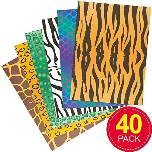 Papierbögen mit Tiermustern A4 - für Kinder zum Basteln - Bastelbedarf - Schulbedarf - 40 Papierbögen pro Packung
