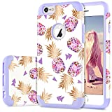 DUEDUE iPhone 6 Plus Hülle, iPhone 6s Plus Hülle, PC Silikon Cover Mädchen Damen Bunter Ananas Handyhülle für iPhone 6 Plus/iPhone 6s Plus Hülle Lila