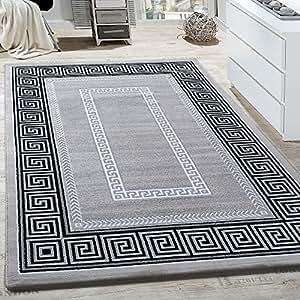 teppich wohnzimmer bord re ornament muster abstrakt design meliert grau gr sse 200x290 cm. Black Bedroom Furniture Sets. Home Design Ideas