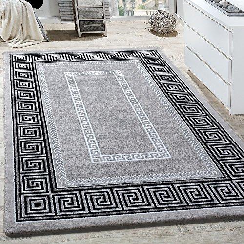 Paco Home Teppich Wohnzimmer Bordüre Ornament Muster Abstrakt Design Meliert Grau, Grösse:160x230 cm
