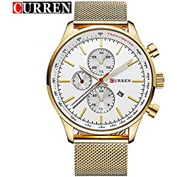CURREN Fashion New Men's Quartz Date Stainless Steel Band White Dial Wrist Watch 8227G