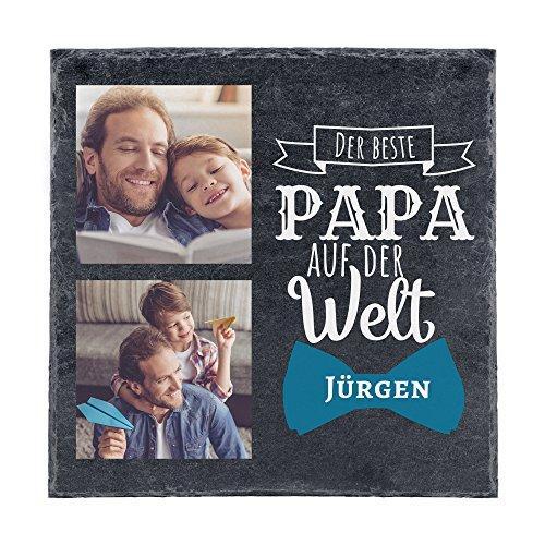 Personello Schieferplatte mit Foto & Namen personalisiert (20x20), Bester Papa, Schiefer zum Aufhängen/Aufstellen