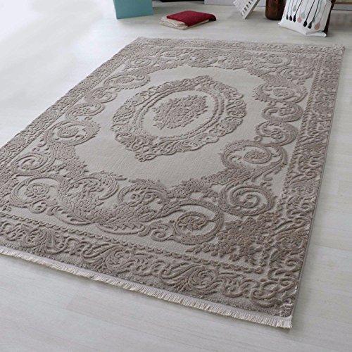 mynes Teppiche Wohnzimmer Beige & Grau Kurzflor mit Medaillon Muster Designer Teppich hochwertig Vintage-Style in versch. Größen [Art 4204] (160 x 230 cm, Beige)