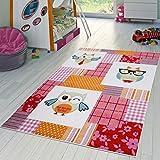 T&T Design Kinderzimmer Teppich Kariert Bunte Eulen Kurzflor Pink Grün Creme Blau Rot, Größe:120x170 cm