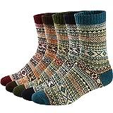 Ueither 5 Paar Unisex Wollsocken - Baumwollsocken - Stricksocken | für Männer & Frauen | Vintage Stil | Warme Crew Socken für Herbst & Winter