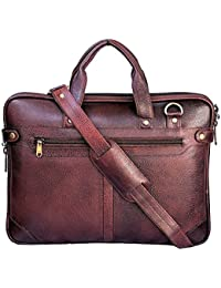 """Stylish 14.5""""Genuine Pure Leather Laptop Sleeve Messenger Office Bag With Shoulder Strap By-Widnes"""