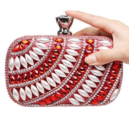 Santimon Clutches Für Damen Glitter Strass Perlen Handtaschen Partei Metallkasten Beutel Mit Kettenriemen Rot
