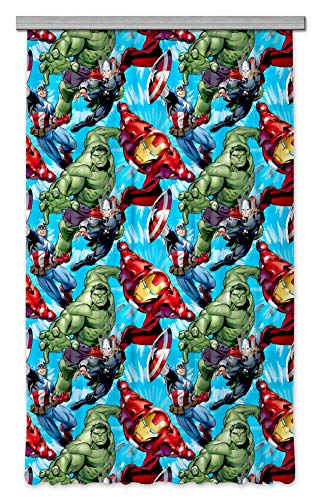 Ag design tende - marvel avengers - tende per camera bambini - stampa foto 3d - 140 x 245 cm - 1 parte - fcsl 7125