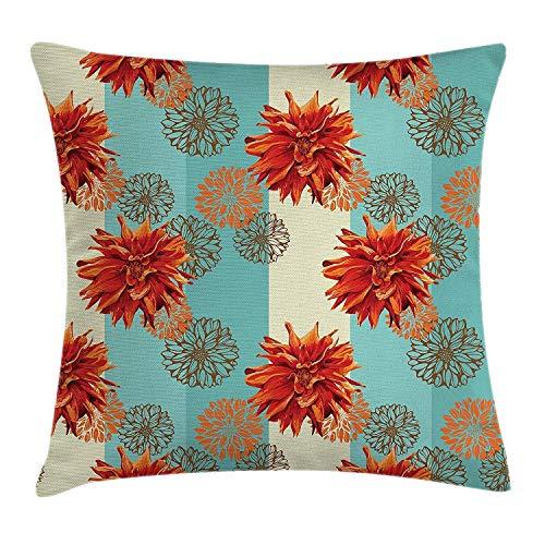 Hectwya Dahlia Flower Wurfkissen Decken Florale Figuren Silhouetten über gestreiftem Pastell