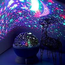 LED Luz nocturna–elec Stars Noche Lámpara proyector de estrellas Lamp Bedside Dormir Luz para Baby & kinders Dormitorio Romántico Regalos para mujeres (Azul)