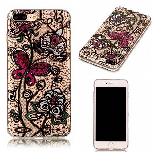 Apple iPhone 7 Plus 5.5 Hülle, Voguecase Schutzhülle / Case / Cover / Hülle / TPU Gel Skin (Weiße hohle 01) + Gratis Universal Eingabestift Schmetterling und Blumen 03