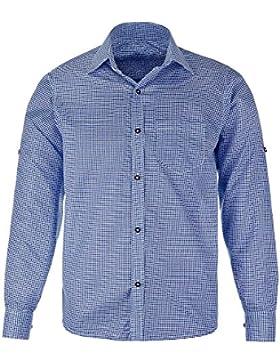 Herren-Trachtenhemd, rot oder blau kariert, Größen S-XXL, langarm mit Krämpelärmeln
