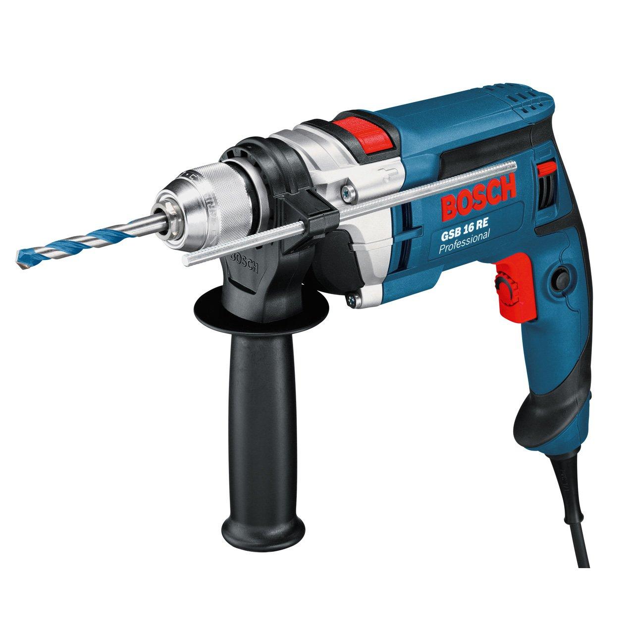 Bosch Professional GSB 16 RE Schlagbohrmaschine + Schnellspannbohrfutter 13 mm + Tiefenanschlag 210 mm + Zusatzhandgriff + Koffer (750 W)