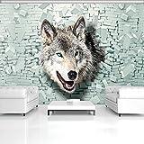 ForWall Fototapete Vlies Tapete Design Tapete Moderne Wanddeko Gratis Wandaufkleber Wolf kommt aus der Wand 3D VEXL (208cm. x 146cm.) Photo Wallpaper Mural AMF2941VEXL Natur Wolf Tiere Imitation Backsteine Mauer Wand TAPETENKLEISTER INKLUSIV