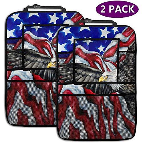 Cartoon American Eagle und Flag 2er-Pack Auto Rückenlehnen Organizer Rückenlehnenschutz