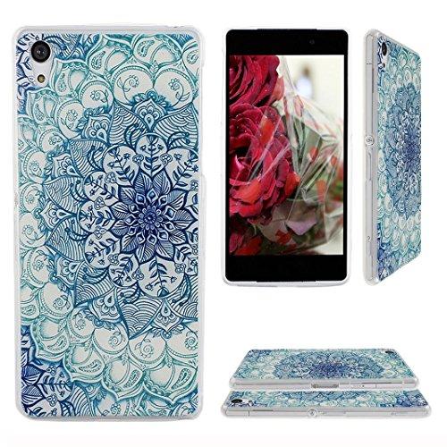 Preisvergleich Produktbild Xperia Z2 Hülle,Asnlove TPU Weich Schutzhülle für Sony Xperia Z2 Hülle Tasche Case Handyhülle Schutz Etui Handytasche Cover Schutztasche(Blau Retro Blume)