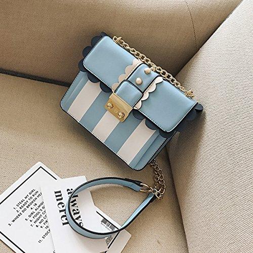 Weibliche streifen farbe verschluss Kette kleine quadratische tasche Schulter messenger bag Blau