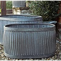 Vintage style oval shaped galvanised dolly planter
