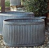 Übertopf in ovaler Form im Vintage-Stil, verzinkt