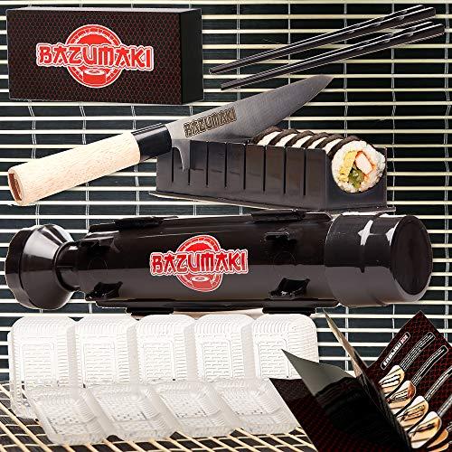 Bazumaki set de Sushi (7 piezas) hacedor de Rolls, Cuchillo de chef, Herramienta de rebanado, Molde para Nigiri, Tapete de bambú, 2 pares de palillos |Apropiado para principiantes| Fácil de limpiar
