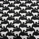 Stoff Baumwollstoff Katzen schwarz weiß Schweden Skandinavien Dekostoff Kisse Vorhang Tischdecke