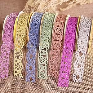 Goodlucky365 7 Rotoli multicolore Washi Modello Lace Fascino Autoadesivo di Mascheramento Fai da te Scrapbooking Decorazione AdesiviSelf-adhesive lace style tapes