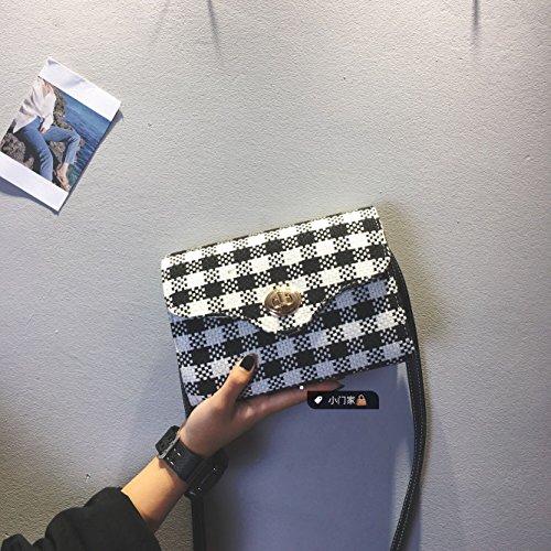 Pacchetto CengBao femmina coreano nuovo stile Harajuku sub-pacchetto a mano elegante e versatile venti locali spalla un Algebra lineare pacchetto, piccoli tartan nero In Tartan nero