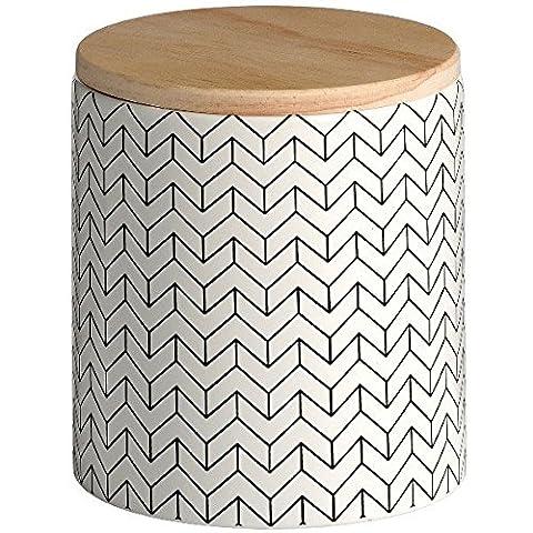 Pot de stockage de Motif Noir et blanc en céramique avec couvercle en bois