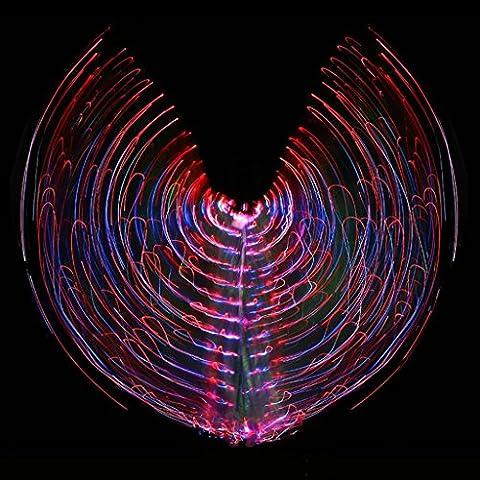 avec bâton ajustable femmes danse du ventre multicolore isis ailes led couleur lumineuse flash décoloration brillant 360 degrés gros accessoires papillon performance professional . picture color . adult