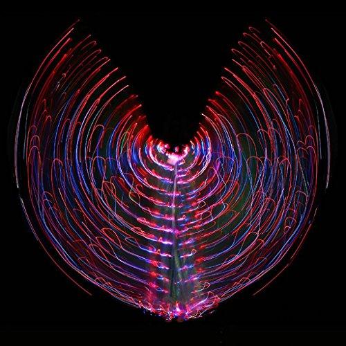 Mit Verstellbarem Stick Frauen Bauch Tanzen Mehrfarbig Isis Flügel Led Licht Farbe Flash Discolierung Glühende 360 ??Grad Große Schmetterling Stützen Performance Professional . Picture Color . (Kostüm Flash Für Verkauf)