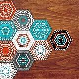 Frolahouse Dekorative Fliesen Aufkleber Set von 10 Peel & Stick Vinyl Fliesen. Wohnkultur. Klassische Stickerei Style Möbel Dekor. Öldichte Wasserdichte Tapete, Hexagon Anti-Rutsch-Boden-Aufkleber