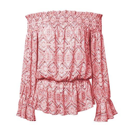 OVERDOSE Blouses épaules Nues Femme, Sexy Tops Manches Évasées Imprimé Fleurs Vintage T-Shirt Rouge