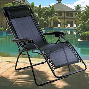 Denny International Black Textoline Zero Gravity Reclining Garden Chair