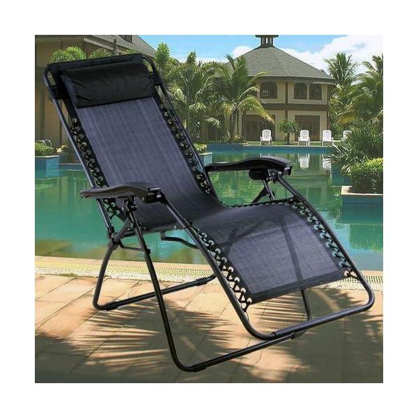 Denny International Black Textoline Zero Gravity Reclining Garden Chair