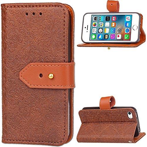 JIALUN-Telefon Fall Für Apple IPhone 5 5s SE Abdeckungs-Fall mit Einbauschlitz, magnetische Schnalle, mit Haltewinkel-Funktion öffnen Sie die Telefon-Shell ( Color : Purple ) Brown