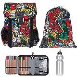 4 T Set LEGO Easy Schulranzen + Sportbeutel + Federmäppchen gefüllt + Trinkflasche (Ninjago Comic 1806)