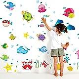 Decals Design StickersKart Wall Stickers Underwater Creatures Baby Room (Multi-Colour)