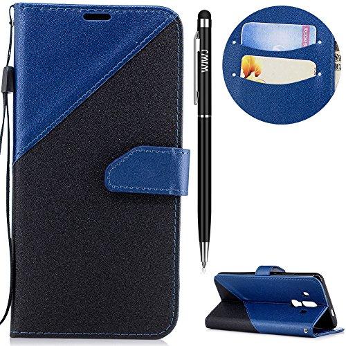 WIWJ Huawei Mate 10 Pro Hülle,Huawei Mate 10 Pro Leder Handyhülle, Handyhülle Wallet Case[Zwei-Farben-System Splice Ledertasche] Flip Schutzhülle für Huawei Mate 10 Pro-Königsblau Farbe Flip Case