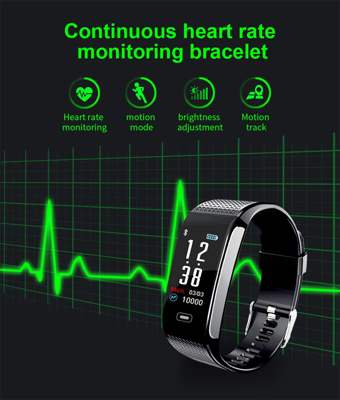 Hunterace Reloj Inteligente Hombre o Mujer, con Monitor de frecuencia cardíaca, con Contador de Pasos, multifunción, Resistente al Agua, Pulsera Inteligente (3 Colores) 2