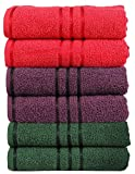 #10: Trident 400 GSM 100 % Cotton 6 Pcs Hand Towels , 40 X 60 Cm.- Purple, Red, Green