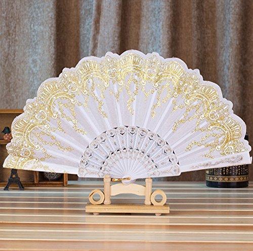 99native Handfächer, Damen Handheld Gefaltet Fan, Chinesischer Vintage Klassisch Blumen Stoff Silk Bambus Hollowed Faltfächer, für Kirche Hochzeitsgeschenk, Party Favors, DIY Dekoration (weiß) (Stoff Damen Kirche)