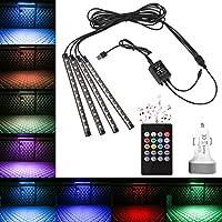 MVPOWER Luz de LED Iluminación Interior de LED Luz de la Atmósfera para Coche Multicolores 4pcs de Luz de Decoración con Control Remoto para Automóvil con 8 Colores